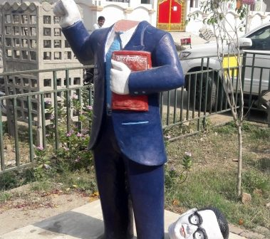 Statues of Buddha and Ambedkar desecrated