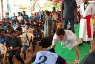Rahul takes up push-up