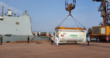 INS KOLKATA with medical stores embarked arrives at new Mangalore port