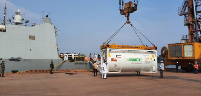 INS KOLKATA with medical stores embarked arrives at new Mangalore port